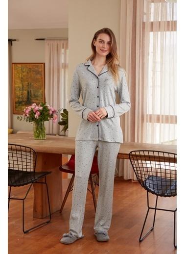 Eros Gömlek Uzun Kollu Pijama Takımı Gri